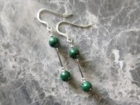 Natural Green Malachite Beaded Earrings With Sterling Silver Tubes   Silver Sensations